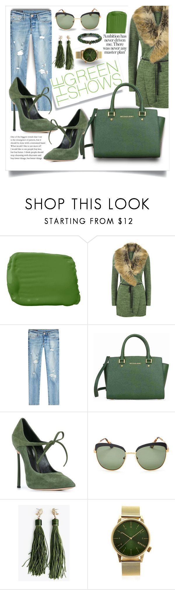 """""""Green with Envy"""" by city-mom ❤ liked on Polyvore featuring Ralph Lauren, WearAll, True Religion, Michael Kors, Casadei, Prada, Komono, Sydney Evan, GREEN and polyvoreeditorial"""