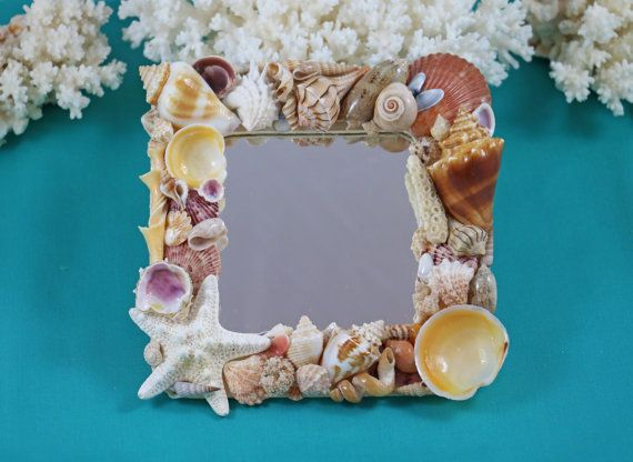 Beach Decor Shell Mirror Beach Mirror by TheSleepySeahorse on Etsy
