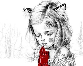girl with tattoos art print limited edition A3 by JulieFilipenko