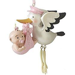 Pink Stork with Baby Girl First Christmas Tree Ornament