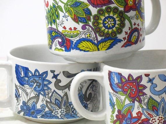 Three Paisley Vintage Mugs by lovethatvintage on Etsy, $20.00: Three Paisley, Paisley Vintage