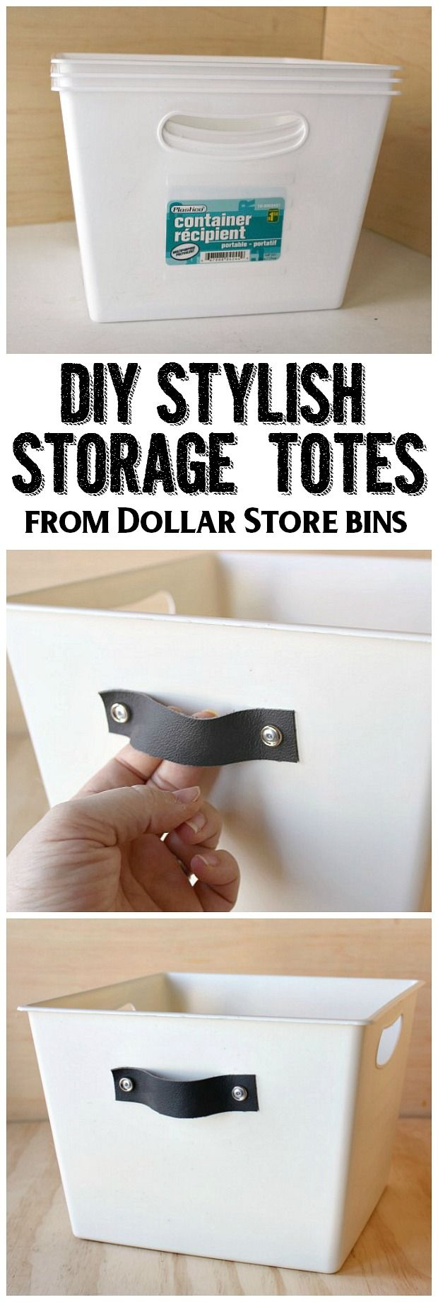 Dress up those boring dollar store bins with this easy tutorial for stylish DIY storage totes. Perfect for front entry storage, toy storage, pantry storage and more!