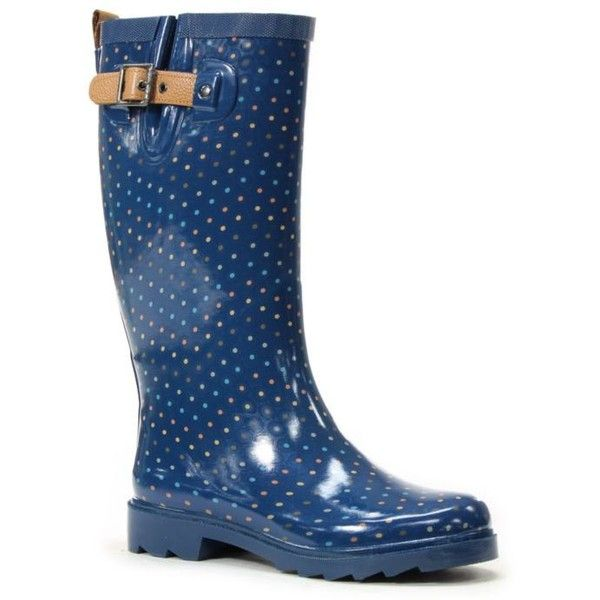 Chooka  Multicolor Dot Rain Boot ($70) ❤ liked on Polyvore featuring shoes, boots, blue, rubber boots, dot rain boots, chooka boots, blue shoes and multicolor boots