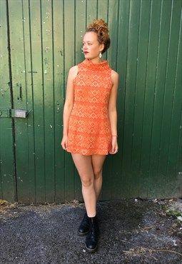 1970's Orange and Gold Dress