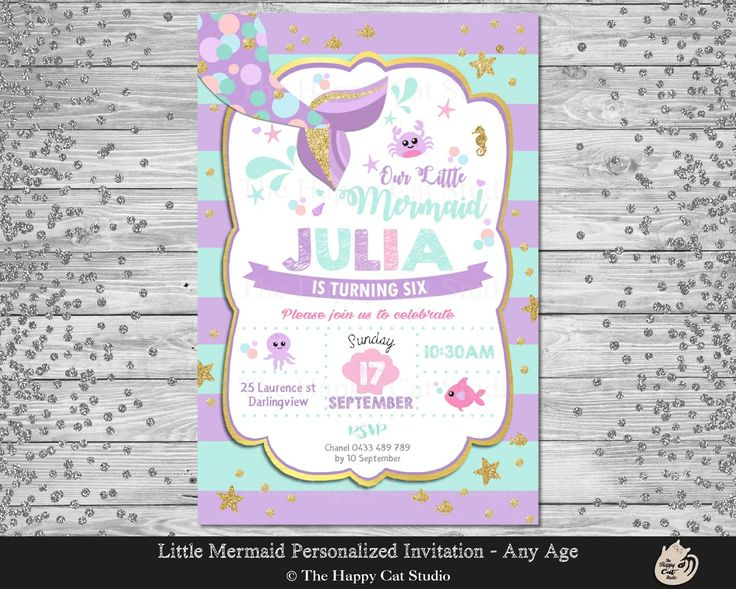 Mermaid Invitation, Personalized, Printable, 1st Birthday Party, Invites, Digital Print Download File, Under the Sea, Girls Party, Gold Tail by thehappycatstudio on Etsy