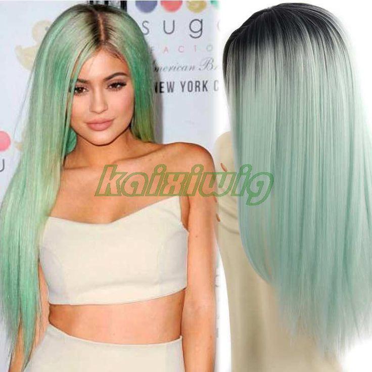 26 'ロングストレートオンブルグリーンかつら安い合成かつら用ブラック/ホワイト女性髪かつら長い偽髪グレーオンブル色のかつら
