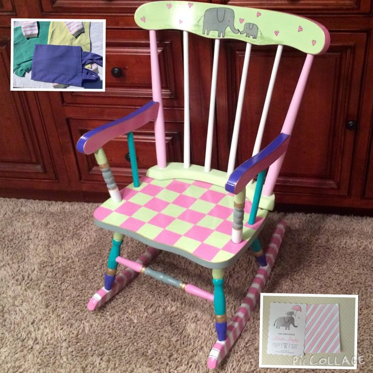 I painted this adorable rocking chair, to match the babys nursery. You can see from the inset picture, that the theme was elephants and pastel colors. SOOOO ADORABLE! Would you like a rocker like this one, or in a style/pattern to match your little ones room or favorite things? Can do! I cater to custom. Heres a link to some of my other kids rockers: https://www.etsy.com/shop/paintingbymichele/search?search_query=rocker&order=date_desc&view_ty...