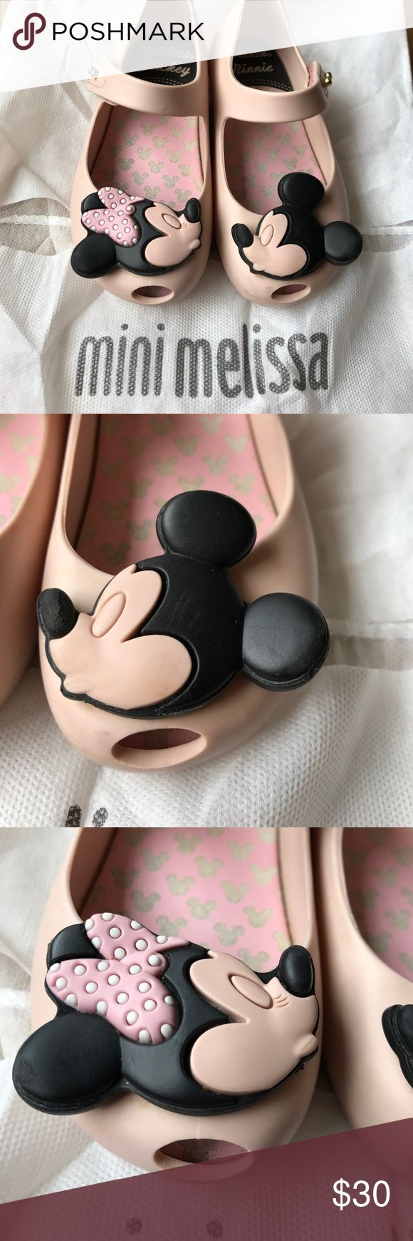 Mini Melissa Kissing Minnie & Mickey Toddler Shoes Very good used Mini Melissa shoes. Bought in late March but my daughters feet grew. Each shoe has some damage (see pictures - mickeys nose is textured, some scuffing) but still in overall great shape. Comes with dust bag and box - box was taped shut when I received it, so it's not in the best condition (last picture) Mini Melissa Shoes Dress Shoes