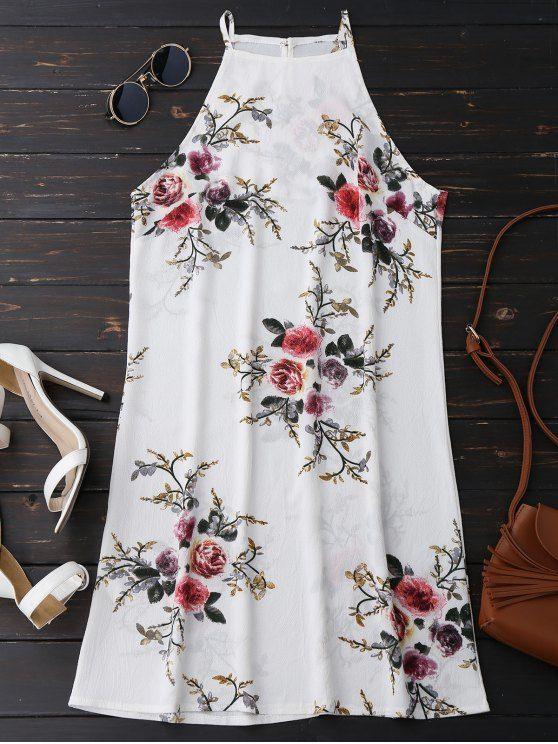 $15.66 Floral High Neck A-Line Dress - FLORAL M