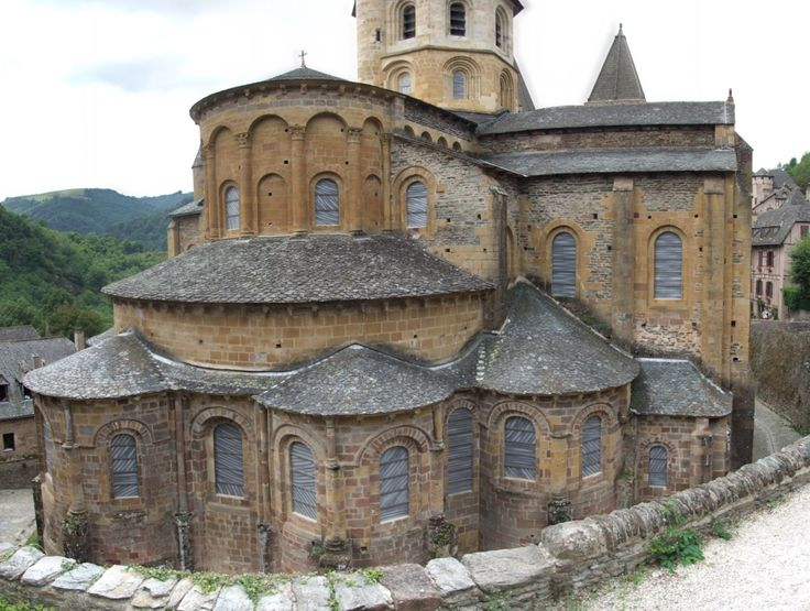 Abbatiale Sainte-Foy, Conques, Aveyron. France - radiating chapels and ambulatory attached to a large nave, as seen in St James and St Sernin.