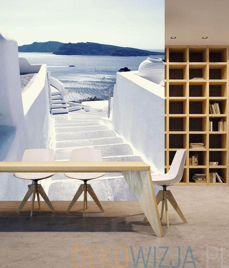 Fototapeta do jadalni z motywem schodów w Santorini
