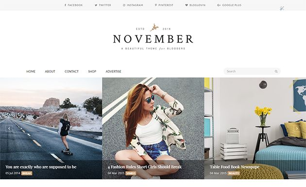 November is a Clean and Minimal Blogger template with luxury design, tailored to be exceptional on all kinds of blogs. It is a Perfect choice for your Minimalist blog layout, Personal blog, Beauty blog, Fashion blog, OOTD blog, authority blog or any type of creative blog or simple magazine. It has a responsive design meaning your content will be displayed beautifully on all mobile devices. If you are looking for Minimalist blogger template then this is best option for you.