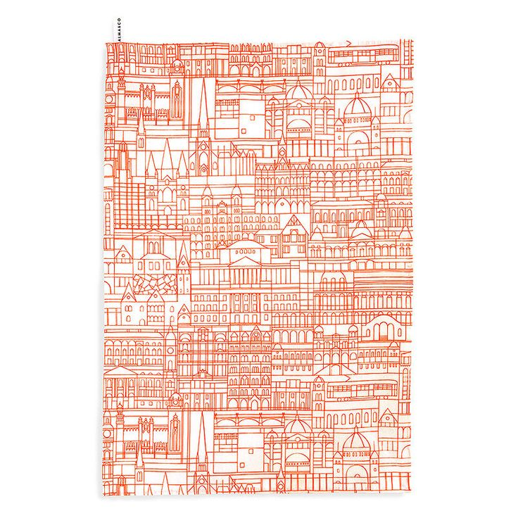 top3 by design - Alma + Co - melbourne teatowel orange white base