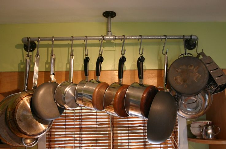 11 best images about pot racks on pinterest coats wall for Galley kitchen storage solutions