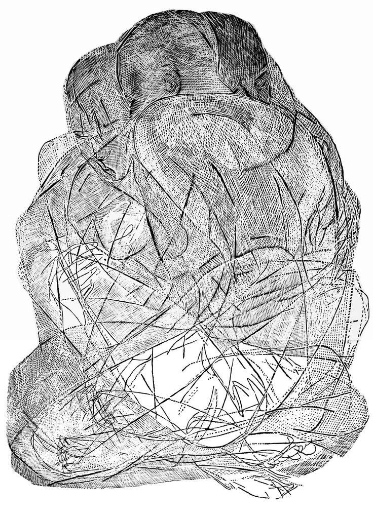 Wtuleni, 100x70cm linocut, Marta Bozyk