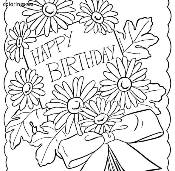 Happy Birthday Card Coloring Page With Flowers Happy Birthday