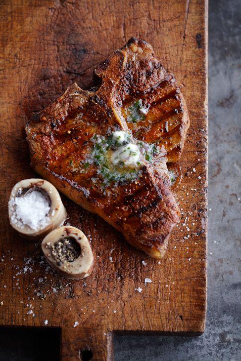 .Dinner, Herbs Butter, Beef, Food, Meat, Bones Marrow, T Bones Steak, Salts, Grilled