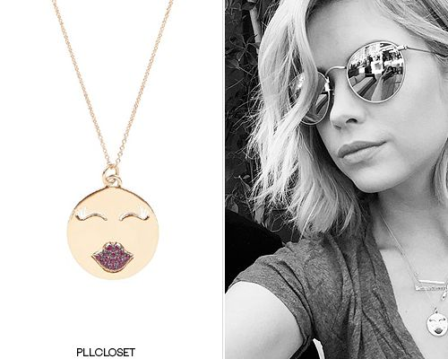 Ashley Benson on Instagram | March 28, 2015I'm always noticing that more and more of the cast's own jewelry is making it's way into the show, including this necklace, that also worn by Hanna on the show. Ashley's style is very like Hanna's now, so her own jewelry fits perfectly.Alison Lou'Mwa! Necklace' - $1,650.00Worn with: Jennifer Meyer necklace