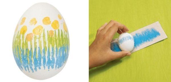 eier-färben ideen-Streifen Ei-geriffelter Pappe-bunt