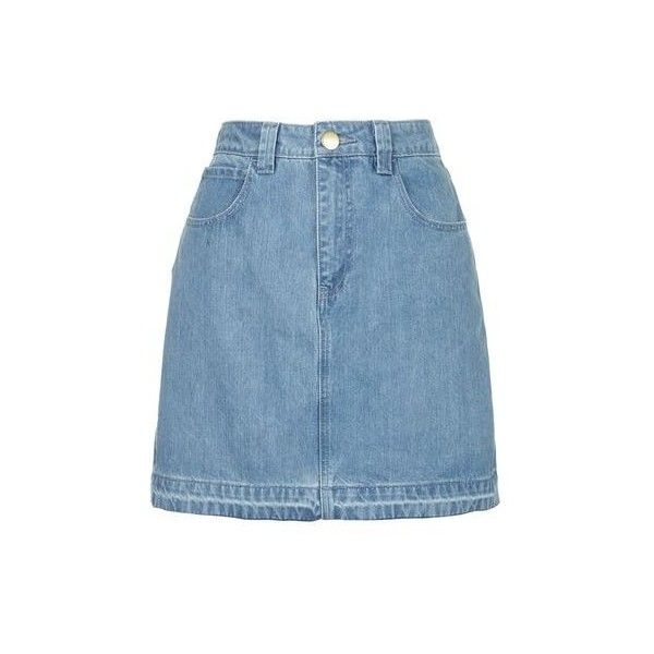 Draycott Denim Skirt by Unique (£30) ❤ liked on Polyvore featuring skirts, bleach, 80s skirt, pocket skirt, blue denim skirt, knee length denim skirt and blue skirt