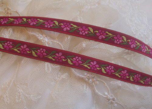 "1/2""w Pink~Mauve Embr. Jacquard Ribbon~Trim 3yd/$3.20"