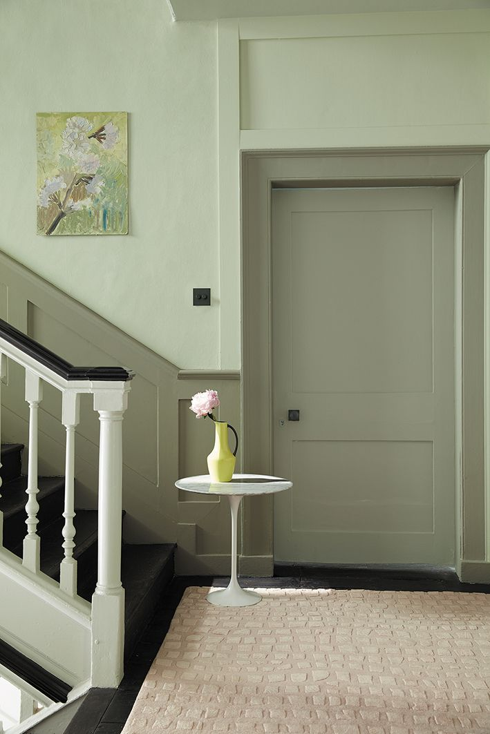 Love These Green Paint Colours For Hallways Pale Soft The Upper Wall And Deeper Grey Dado Archetrave Doorway