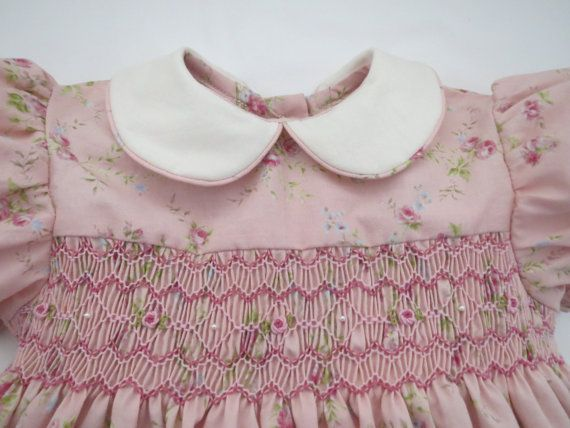 Sweet Hand Smocked Pink Floral Dress for by AnnetteGraceDesigns