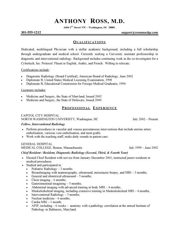 Physician Resume Sample Health Care Sample Resumes Business Resume Template Resume Examples Free Resume Examples