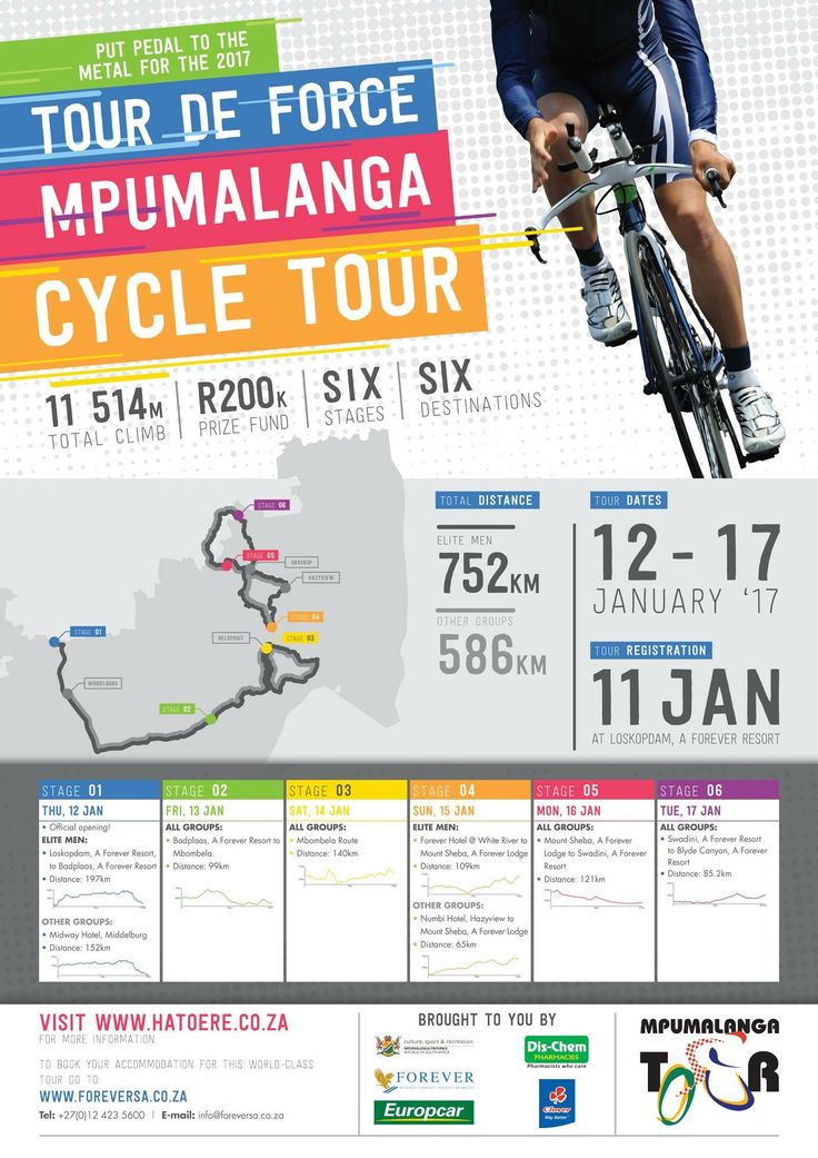 The second #MpumalangaCycleTour will be taking place from 12 to 17 January 2017!! Starting at Loskopdam, A Forever Resort, moving to Badplaas, A Forever Resort, Forever Hotel @ White River, Mount Sheba, A Forever Lodge, Swadini, A Forever Resort and ending off on the final stage at Blyde Canyon a Forever Resort!!