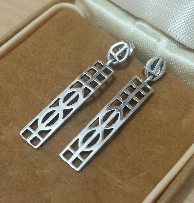 VINTAGE 925 SOLID SILVER RENNIE MACKINTOSH DESIGN EARRINGS in Jewellery & Watches, Fine Jewellery, Fine Earrings | eBay