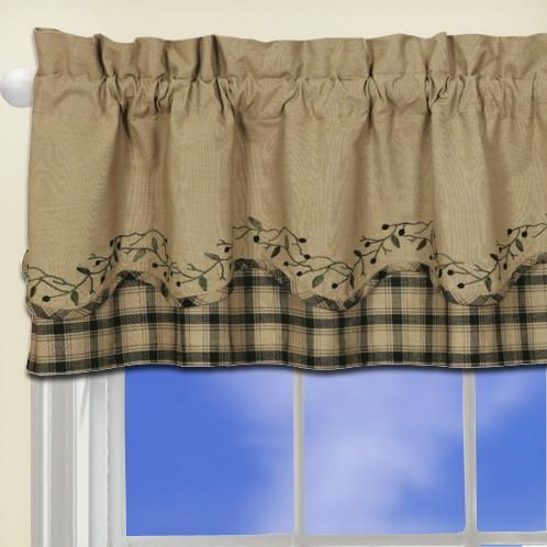 Blackberry Vine Primitive Curtain Valance black country scalloped window curtain  curtains