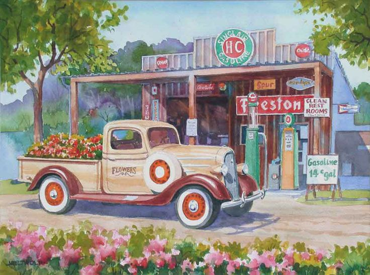 Old Gas Station Drawing Old Schoolhouse...