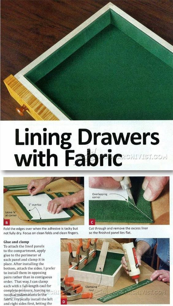 Lining Drawers with Fabric - Drawer Construction and Techniques   WoodArchivist.com
