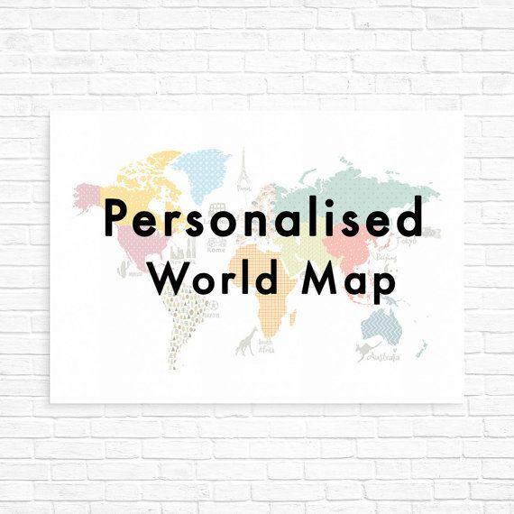 Personalised kids world map world map art by ModernKidsGallery