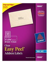 """Avery® Easy Peel® Clear Address Labels for Inkjet Printers 18660, 1"""" x 2-5/8"""", Pack of 300"""
