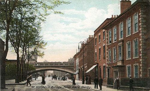 Derbyshire, Derby, Great Northern Bridge, Friar Gate 1900's The bridge is now a listed building.The house which you see on the right is still there-minus the fencing.