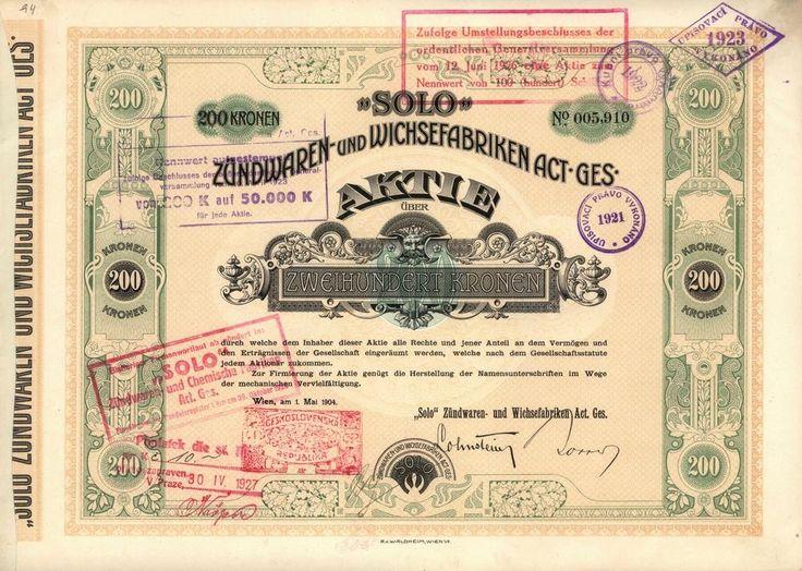 """SOLO, Zündwaren- und Wichsefabriken Act. Ges. (""""SOLO"""" továrny na zápalky a leštidla akc. spol.). Akcie na 200 Korun, Vídeň, 1904. Sirky, zápalky."""