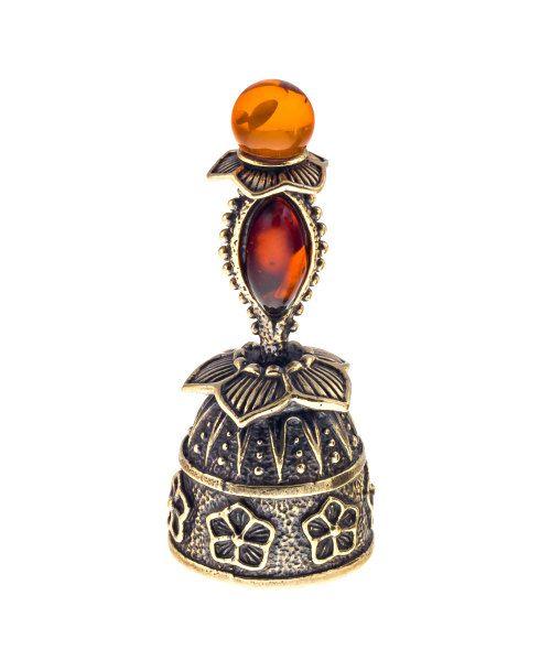 Baltic Amber Russian souvenir Brass Bluebell by RussianSouvenirArt
