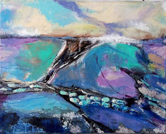 Original Acrylic Painting Abstract landscape blue purple