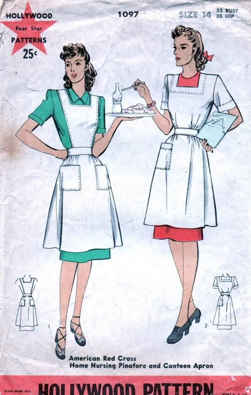 "Hollywood 1097; ca. 1943; American Red Cross Home Nursing Pinafore and Canteen Apron Add a photo to the gallery by clicking the ""modify"" button below."