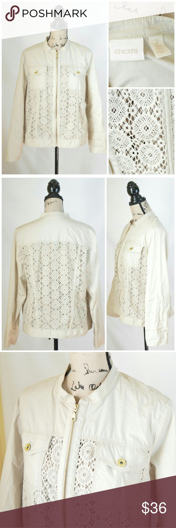 ❤ SALE Chico's Crocheted Zip Up Jacket Gently used in great condition Chico's Women's Beige Long Sleeve Crocheted Zip Up Jacket  Size: 2 (According to Chicos Size Chart this is a size Large or 12)  Chico's Jackets & Coats