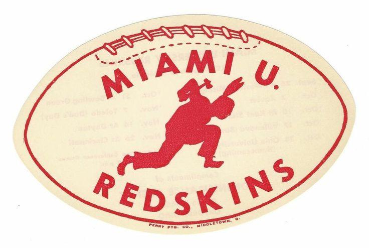 Vintage Original 1959 Miami University of Ohio Redskins Football Schedule