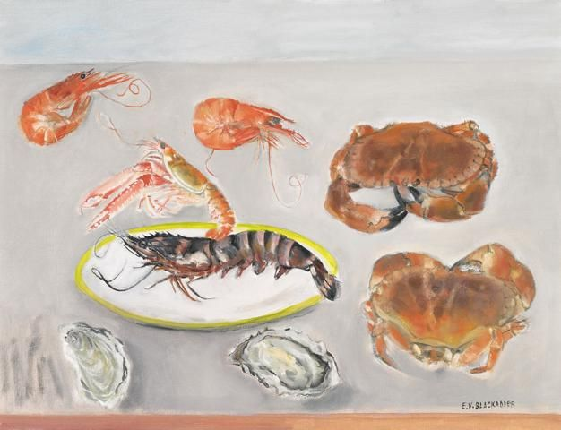 Elizabeth Blackadder- prawns, gamberi, crabs and oysters   What drew me to this painting was the unusual composition. The objects are quite wildly spread out which in my opinion give the painting quite an empty feel. I think she varies how detailed each individual study is as the crab nearer the bottom is less detailed than the other which does make the painting more visually exciting