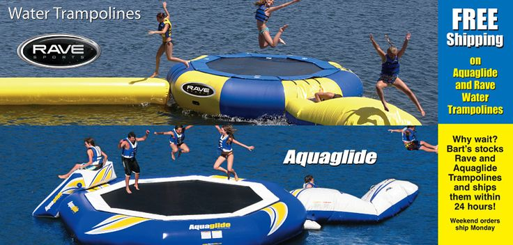 Water Trampolines, mats, water jungle gyms...all kinds of fun (expensive) stuff for the lake.