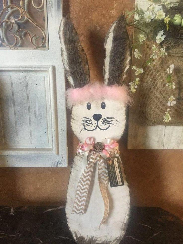 Easter Bunny Fur Ears Spring Decor Wooden Handmade
