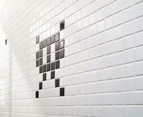 Hong Kong Apartment with Space Invaders Bathroom by OneByNine    http://design-milk.com/hong-kong-apartment-with-space-invaders-bathroom-by-onebynine/#
