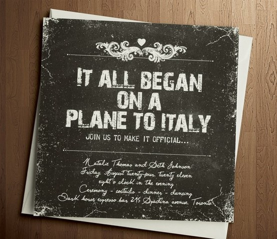 It all began on a plane to Italy wedding invite