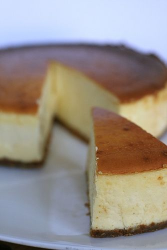 best cheesecake recipe ever (and blog in general!).  adapt it with whatever treats you like for perfection.  mint oreos crust and creme-de-menthe cheesecake is my fave =)