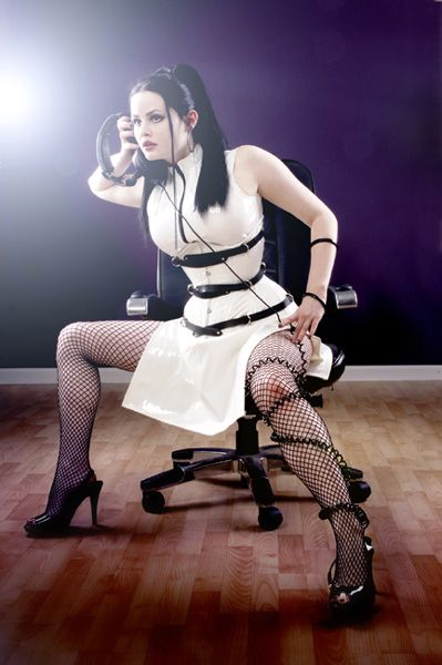 White and black leather Black Widow corset by Starkers Corsetry