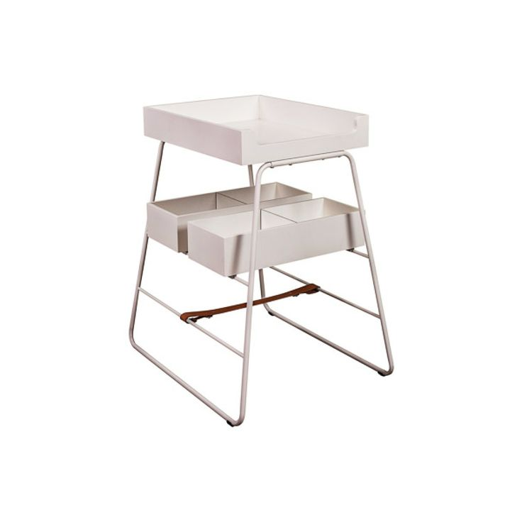 BZBX Changing TOWER/Changing Table White/Natural Leather